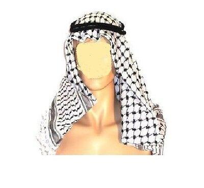 Arabic Keffiyeh,cafia Yasser Arafat/Abu Ammar Shemag Scarf + Head Ring (Agel )