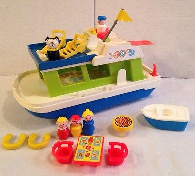 Vintage Fisher Price Little People Play Family HOUSEBOAT Boat Set #985 COMPLETE