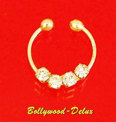 Bollywood Septum Nasenclip Nasenring Strass Fake Piercing GOLD Farbe