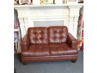 Brown leather 2 seater and 4 seater sofas