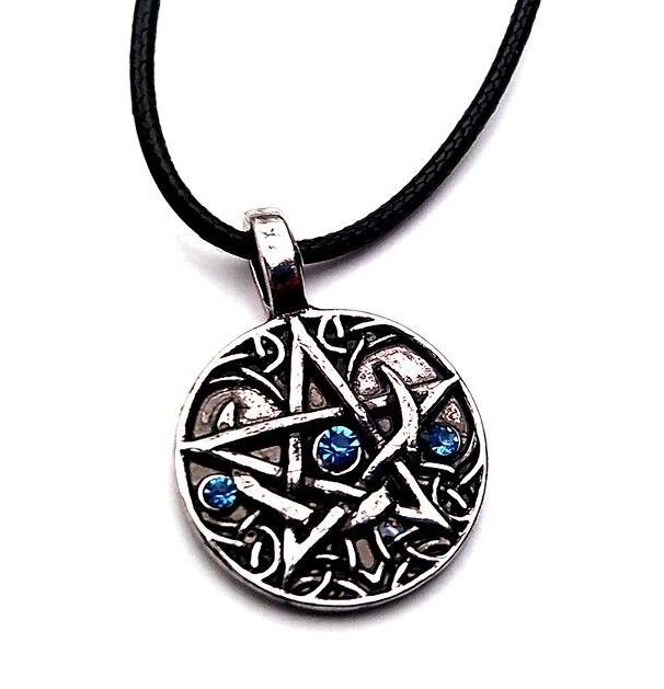 Amulet Talisman Pentagram Wicca Wiccan Pagan Pentacle on a Leather Cord.