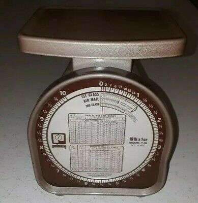 Vintage Pelouze Postal Scale Dated 1975 8.5 In Tall 10 Lb By Ounce Model Y-10