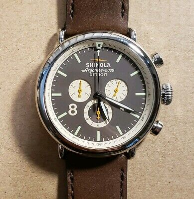 Shinola Runwell Watch With 47mm Brown Crono Face & Brown Leather Band.