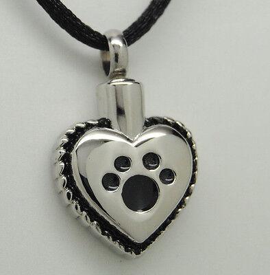 Paw Heart Cremation Urn Necklace || Dog or Cat Ashes Keepsake || Engraveable