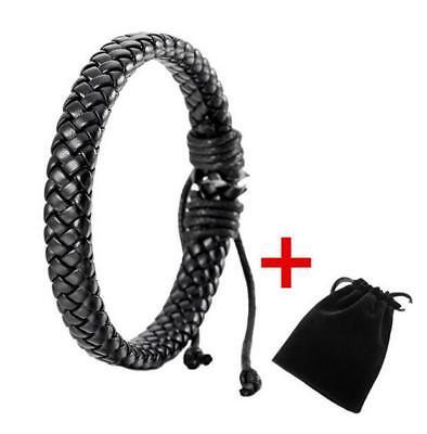 Men Unisex Leather Bracelet Bangle Cuff Rope Black Surfer Wrap (Adjustable Bangle)