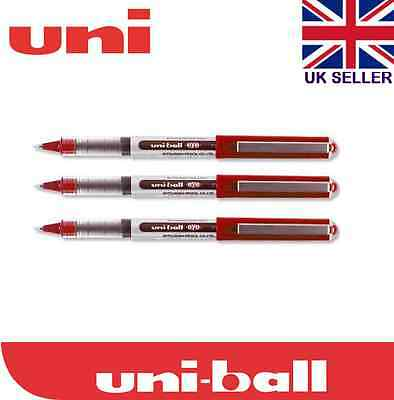 3 X Uniball Eye Micro Ub-150 Tip Roller Ball Pen 0.5mm Red