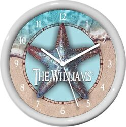 Personalized Nautical Starfish Wall Clock Water Color Nautical Decor Gift