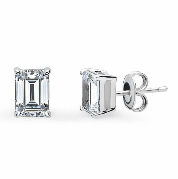 Elegant 925 Womens Sterling Silver Emerald Cut Large Solitaire Studs Earrings