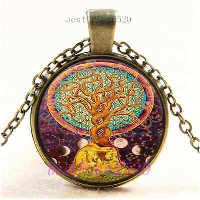 Vintage Flower of life Photo Cabochon Glass Bronze Chain Pendant Necklace