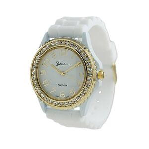 NEW Geneva SILICONE RUBBER JELLY WATCH with CRYSTALS Bling Designer Watch