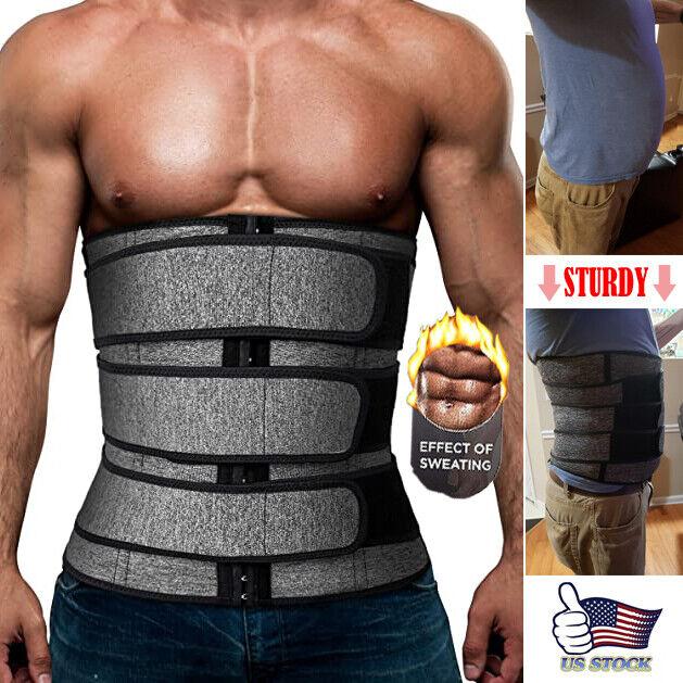 Mens Workout Waist Trainer Neoprene Corset Sauna Sweat Trimmer Cincher Slimming Belly Belts
