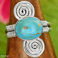 COPPER TURQUOISE STONE HANDSET in Handmade 925 SILVER RING Sz 9
