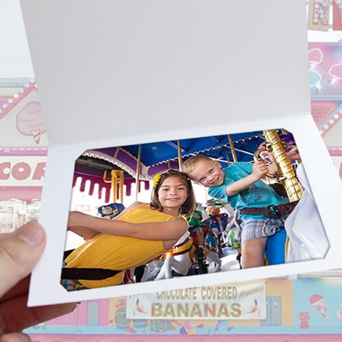 White Slit-Corner Cardboard Photo Folder - Holds a 4x6 or 5x7 Photo - Pack of 25