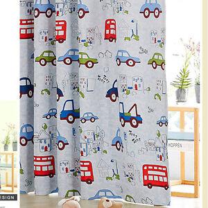 Kids Blockout Curtains Blackout Curtain Blue Car Bus Truck Boy 140cm X 223cm Ebay