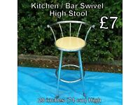 Kitchen / Bar Swivel High Stool - Measurements on Photo