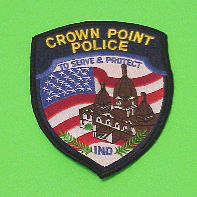 CROWN POINT  INDIANA  IN  ( BLACK BORDER )   POLICE DEPT. PATCH  FREE SHIPPING!!