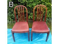 Chairs (B) Mid/Dark Wood Upholstered - £7 for the pair