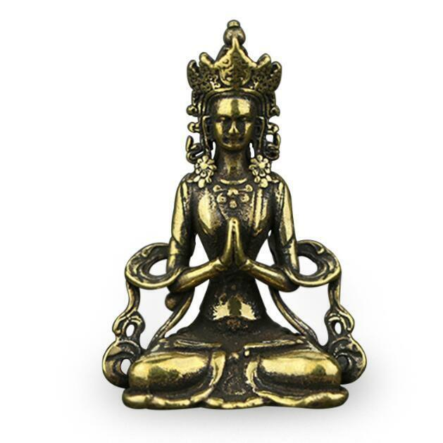 Chinese Collection old Asian Brass guanyin tara godness Exquisite statue Gift