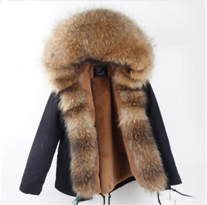Women's Winter Parka With Real Raccoon Fur Woman Size L Black