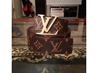 Louis Vuitton monogram Belt brown with Gold Buckle