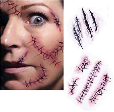Tattoo Sticker Halloween Narben Make up Motto Party Zombie Karneval (Narben Make Up Halloween)
