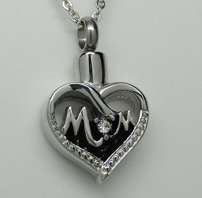 Mom Cremation Jewelry Mom Cremation Urn Necklace Silver Heart Mother Memorial