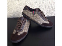 GUCCI Brown leather and suede Trainers, Brand New in size 10