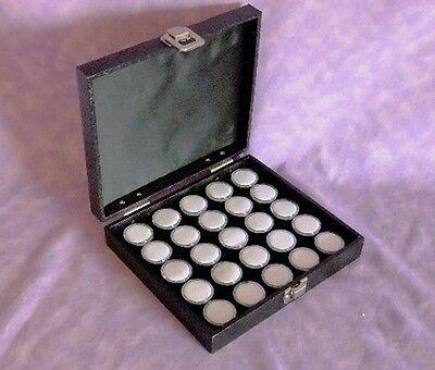 Traveling Gem Storeage Case 25 Wht Jars Black Foam