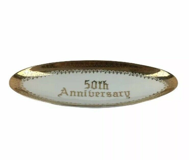 Norcrest Boat Tray 50th Golden Anniversary Fine China Long B591 Footed Gold