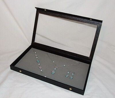 Clear Top Jewelry Display Case With Gray Velvet Pad