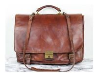 Italian leather briefcase/laptop case with detachable shoulder straps