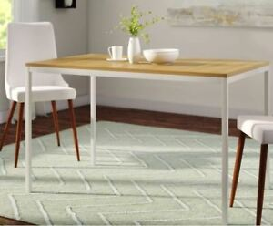 4-seat dining table (white steel frame, birch wood top)
