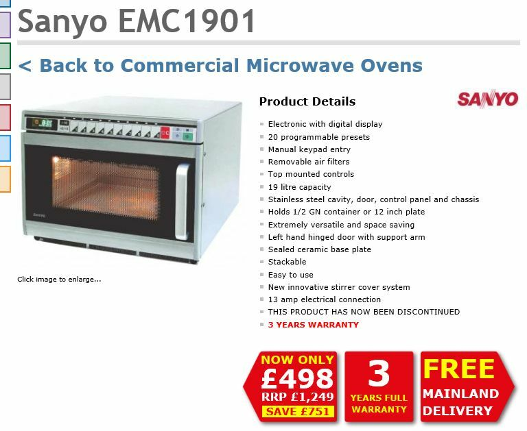 Sanyo EMC 1900 commercial industrial microwave in South  : 86 from www.gumtree.com size 768 x 629 jpeg 67kB