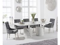220cm White Marble Table With 6 Talia Chairs