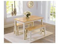 Oak and Cream Dining Table and Benches