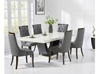 200cm White and Black Pedestal Marble Dining Table With 6 Angelica Chairs