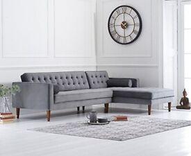 Fabric RHF Grey Chaise Sofa Idriana