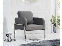 Arm Chiar, Lounge Chair - Bennett Grey Velvet Accent Chair