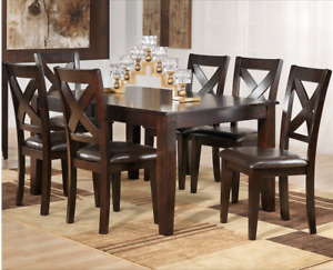 Mango dining table with 6 solid hardwood chairs, NEW in boxes,