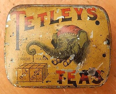 RARE Early Antique Original Small TETLEY'S TEAS Tin - Tetley Sample