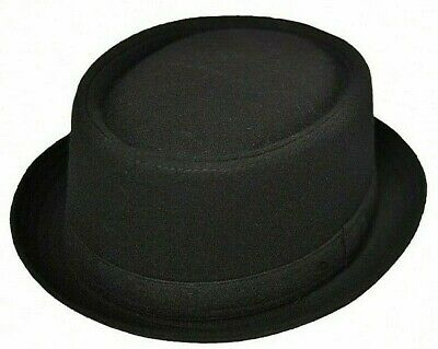 Felt Look Hat Trilby Black Pork Pie Fedora Gangster MOD SKA Black Mens Boys](Boys Black Fedora)