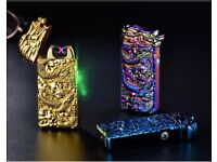 Chinese Dragon Relief Double Arc Usb Lighter Plasma