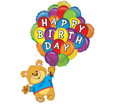 Happy Birthday UP and Away Bear with Balloons Celebrate Birthday Party Balloon