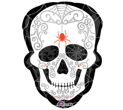 Scary Halloween Balloons (Widow Spider Web Sugar Skull Halloween Scary Spooky Party Decoration)