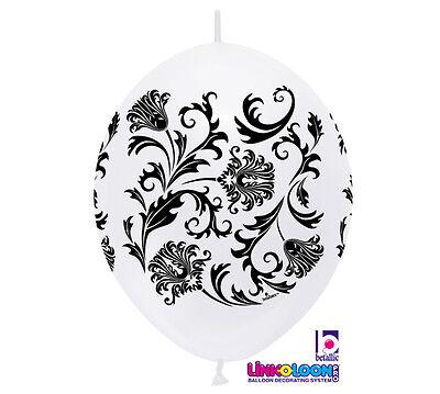 10ct. WHITE & BLACK DAMASK Link-o-Loon 12