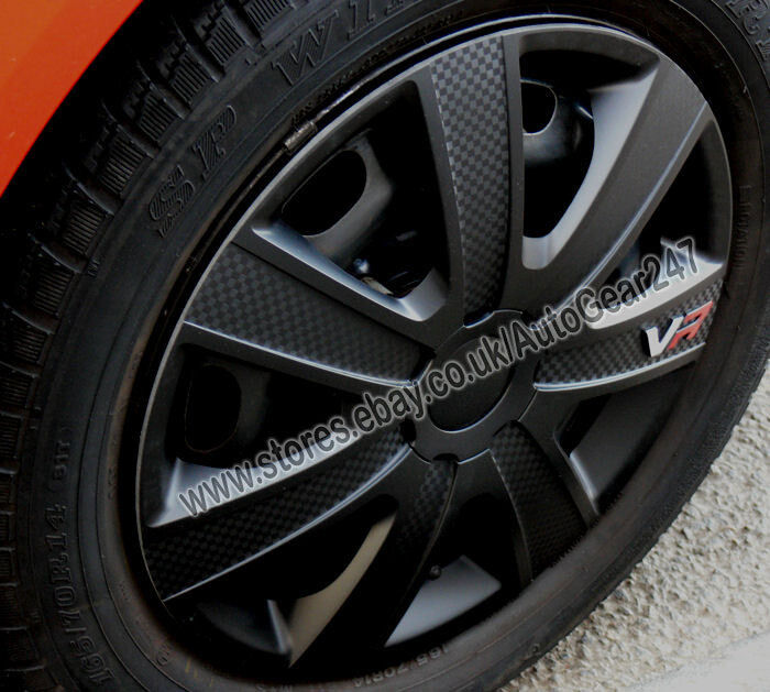 "15"" inch VR Black Carbon Look Wheel Trims Hub Cap Covers ..."