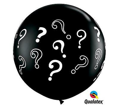 """Used, HUGE 36"""" Gender Reveal Black Question Mark Qualatex Latex Balloon FREE SHIP for sale  Lexington"""