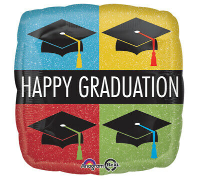 BALLOON HAPPY GRADUATION Party Room Decorations Mylar Cap Hat Ceremony Grad - Graduation Caps Decorated