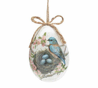"4"" Garden Grove Bluebird Easter Egg Ornaments Set of 4"
