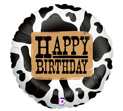 COW PRINT Happy Birthday Western Country Barn Farm Birthday Party Balloon